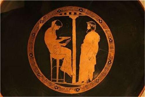 그리스 도기에 그려진 델포이 무녀의 모습(사진=독일 알테스 박물관)