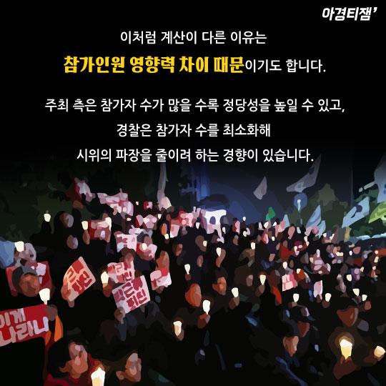 [카드뉴스]촛불집회 주최측 20만, 경찰측 4만…'엿가락 숫자' 왜?