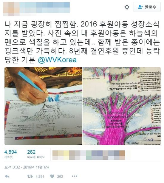 월드비전 후원과 관련해 한 네티즌이 의문을 제기했다/사진=트위터 캡처