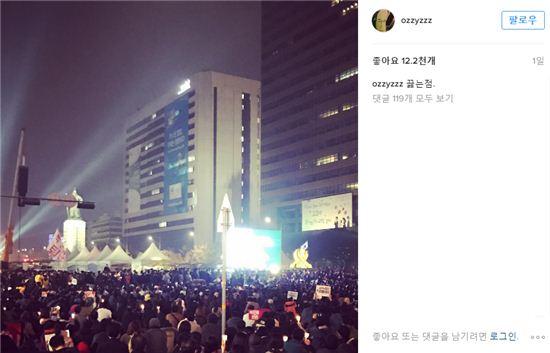 허지웅이 올린 광화문 촛불 집회, 사진=허지웅 인스타그램 캡처