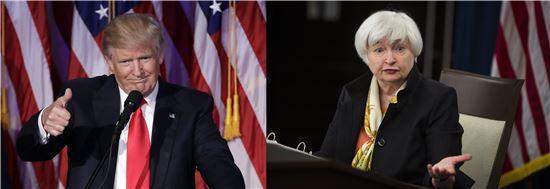 ▲도널드 트럼프 미국 대통령 당선인(왼족)과 재닛 옐런 미국 연방준비제도이사회(Fed) 의장