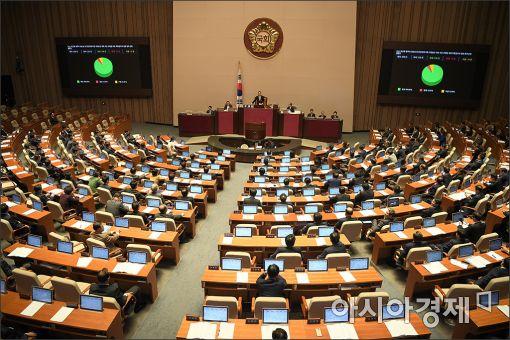 지난 17일 오후 열린 국회 본회의에서 '박근혜 정부의 최순실 등 민간인에 의한 국정농단 의혹 사건 규명을 위한 특별검사의 임명 등에 관한 법률안'이 가결되고 있다.