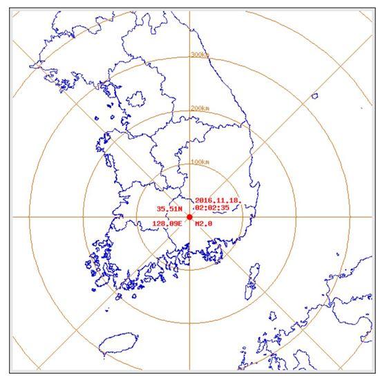 기상청은 18일 오전 2시2분쯤 경남 합천군 남서쪽 9㎞ 지역에서 규모 2.0 지진이 발생했다고 밝혔다. (사진=기상청 제공)
