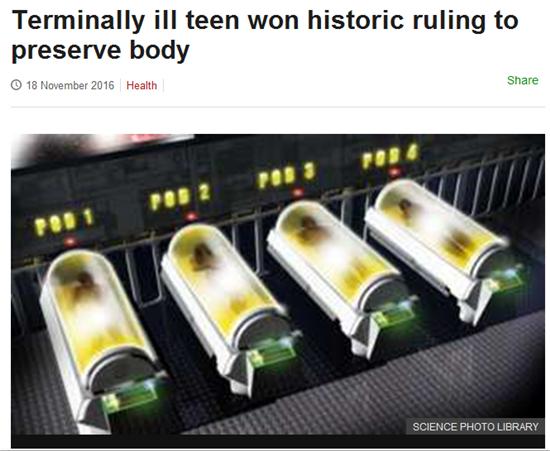 영국의 14세 암 환자가 시신 냉동보존을 허가받았다/사진=BBC 홈페이지 캡처