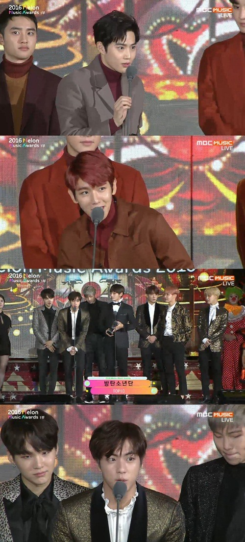 엑소 방탄소년단. 사진=MBC MUSIC '2016 멜론뮤직어워드' 방송 캡쳐