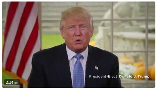 트럼프 당선인이 자신의 취임후 100일 구상을 밝히는 동영상을 21일 공개했다.(트럼프 트위터 캡처)
