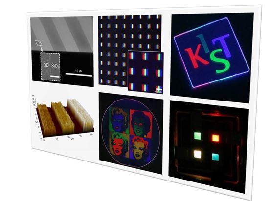 ▲다색 퀀텀닷 패턴형성과 이번 기술을 활용한 패턴된 퀀텀닷 발광소자 구현 결과 이미지.[사진제공=KIST]
