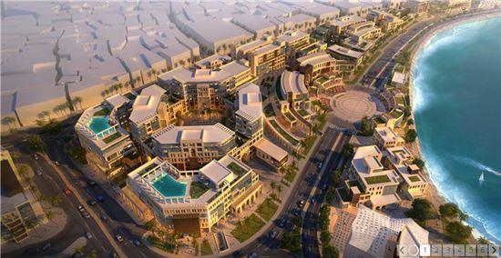 쌍용건설이 수주한 두바이 데이라 해안지역 복합개발건축공사 1단계 조감도