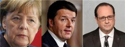 ▲앙겔라 메르켈 독일 총리, 마테오 렌치 이탈리아 총리, 프랑수아 올랑드 프랑스 대통령