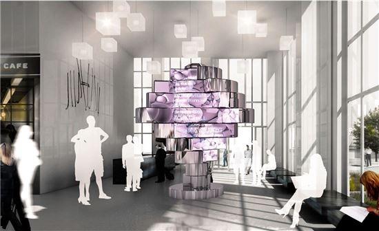 현대백화점 면세점 내부에 설치 예정인 랜드마크형 조형물 조감도