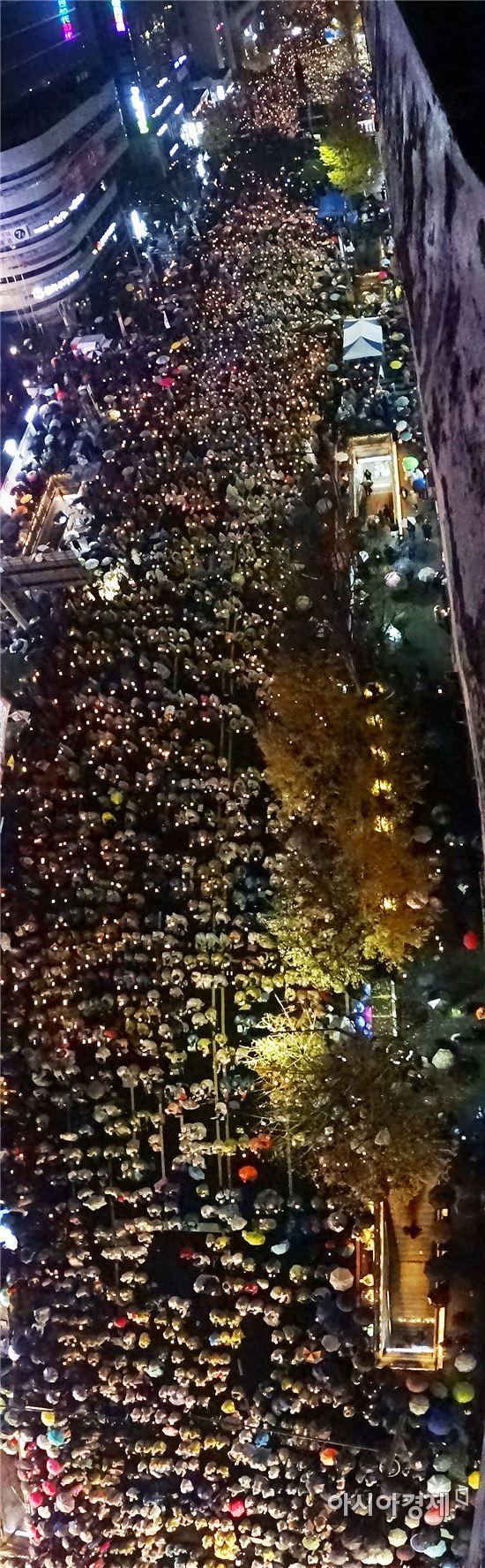 [포토]박근혜 퇴진 촛불대회에 참석한 5만여 광주시민들