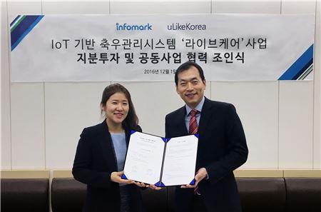 왼쪽부터 유라이크코리아 김희진 대표, 인포마크 최혁 대표(사진제공=인포마크)