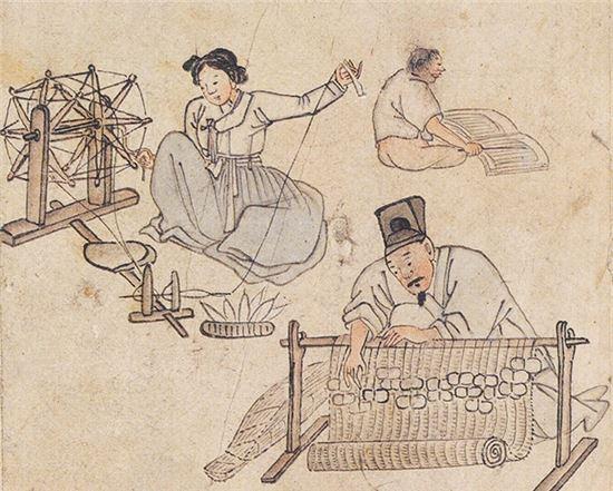 김홍도의 '자리짜기' 민속화 그림(사진=한국콘텐츠진흥원)