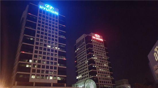 5일 저녁 9시 50분 현대차그룹 양재동 사옥 전경.<사진=아시아경제>