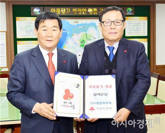 ㈜대일하이텍(대표 김시우, 오른쪽)은 9일 고창군(군수 박우정, 왼쪽) 희망복지단에 성금 300만원을 전달했다.