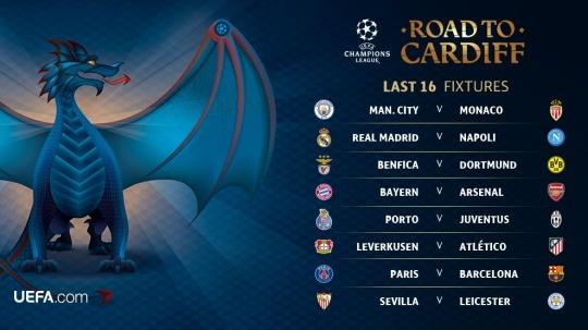 챔피언스리그 16강 대진 [사진=UEFA 공식 페이스북]