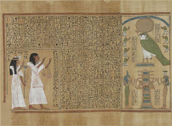 이집트 19왕조 시기에 작성된 '사자의 서'는 그림과 문자를 함께 기록함으로 사후세계에 대한 폭넓은 이해를 돕고 있다. 사진 = Page from the Book of the Dead of Ani, c. 1275 B.C.E., 19th Dynasty, 57.3 x 46.2 cm, Thebes, Egypt ⓒ Trustees of the British Museum