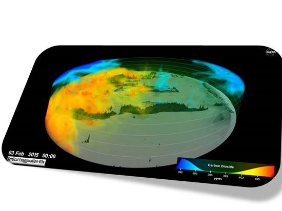 ▲이산화탄소 흐름을 3D 지도를 통해 확인할 수 있어 눈길을 끈다.[사진제공=NASA]