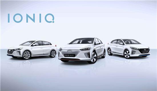 현대자동차의 아이오닉 3종(하이브리드, 플러그인하이브리드, 전기차)
