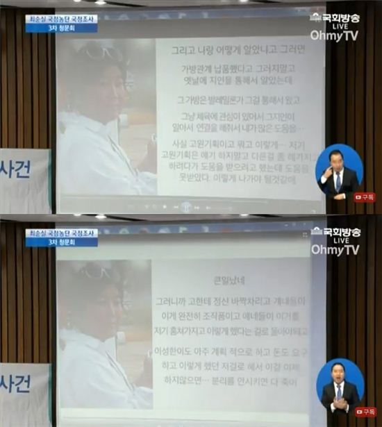 사진=국회방송, OhmyTV 유튜브 방송영상 캡처