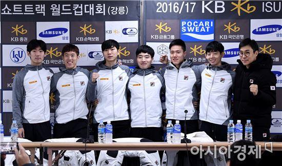 [포토]선전 다짐하는 쇼트트랙 남자 대표팀