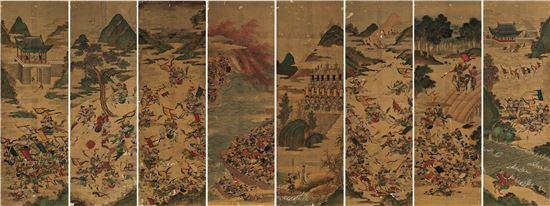 작자미상, 삼국지연의도, Ink and color on silk, 48.5x148.7cm(eight-panel screens) [사진=서울옥션 제공]