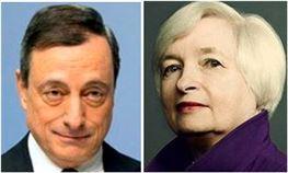▲마리오 드라기 ECB 총재와 재닛 옐런 Fed 총재