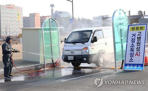 도로에 마련된 거점소독시설에서 방역 관계자가 조류 인플루엔자(AI) 차단을 위해 차량 소독을 하고 있다. (사진=연합뉴스)