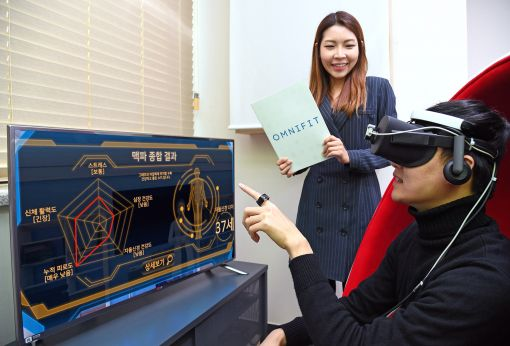"""""""정신건강도 VR로 똑똑하게 관리한다!"""" 옴니씨앤에스 직원이 VR기기를 착용하고 정신 건강 상태 측정 결과를 확인하고 있다."""