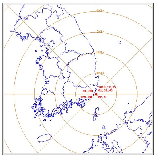 기상청은 25일 오전 1시59분쯤 부산 기장군 동쪽 15㎞ 해역에서 규모 2.4 지진이 발생했다고 밝혔다. (사진=기상청 제공)