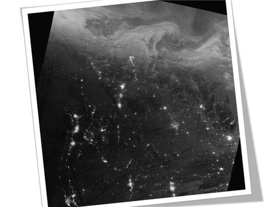 ▲북캐나다 상공에 북극광이 펼쳐지고 있다.[사진제공=NASA]