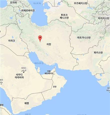 이란 이스파한 정유공장 위치도.