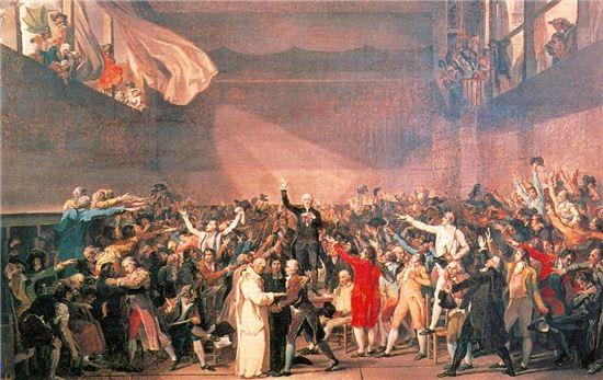 1789년 6월20일 발생한 테니스코트 선서 그림(사진= 위키백과)