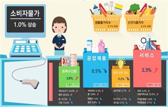 2016년 연간 소비자물가 동향(정보그림 : 통계청 제공)