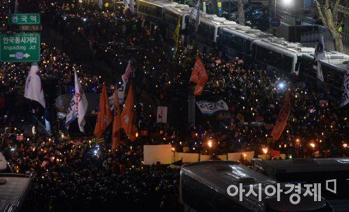 [포토]가로막힌 헌법재판소 행진