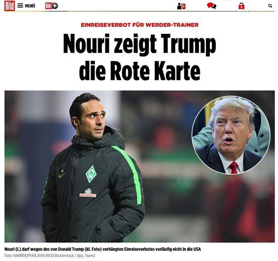 베르더 브레멘의 알렉산더 누리 감독(왼쪽)이 트럼프 미국 대통령의 반 이민 행정명령을 강도 높게 비판했다. 사진=빌트 홈페이지