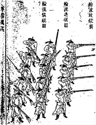 3단 사격법에 대한 중국 병서인 '군기도설'에 나온 삽화(사진= 위키피디아)