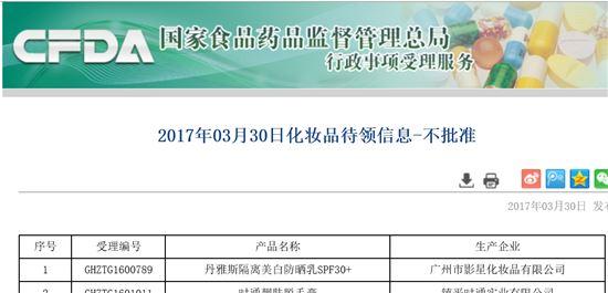 중국 식약처(CFDA) 홈페이지.