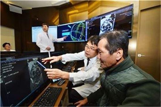 가천대길병원 전문의가 환자와 함께 왓슨으로 진단과정을 지켜보고 있다.