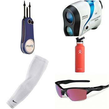 그린 보수기와 거리측정기, 절연 물병, 선글라스, 팔토시(왼쪽 시계방향으로) 등 골프백의 필수아이템. 사진=골프위크