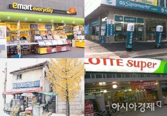 이제 슈퍼마켓도 더이상 예전의 그 슈퍼마켓이 아니다. 왼쪽 위부터 시계 방향으로 이마트 에브리데이, GS슈퍼마켓, 롯데슈퍼, 진정한 동네 슈퍼마켓(이미경 작가가 그린 서울 신촌 '대지수퍼').