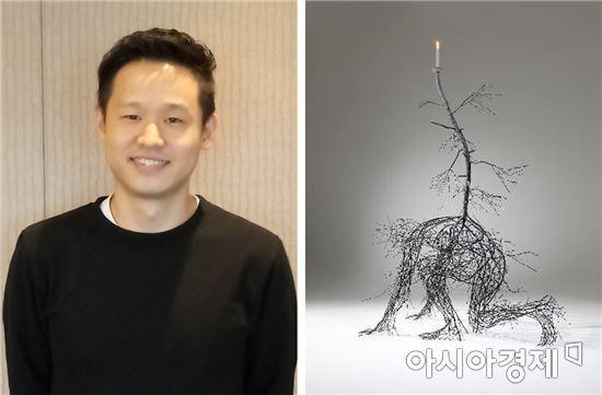 김선혁 작가(왼쪽)/ Pilgrim_2016_스테인리스 스틸에 채색_190×140×92cm