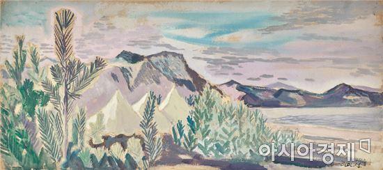 이인성, 풍경, 1942, 액자 종이에 채색, 25.5×56.5cm (1억9000만~3억원)[시진=마이아트옥션 제공]