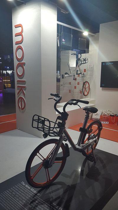 모바이크는 체인이 없는 자전거 제품을 자체 생산해 공유서비스를 한다. 사진은 지난달 30일 벤처창업페스티벌에서 선보인 모바이크의 자전거 제품.