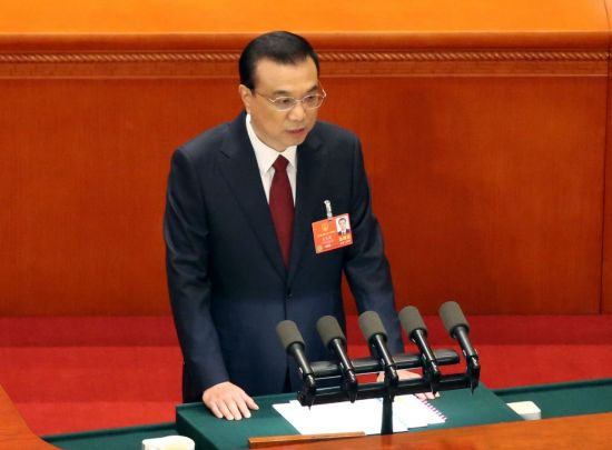 지난해 3월5일 전인대 1차 회의때 업무보고하는 리커창 중국 총리의 모습. [이미지출처=연합뉴스]