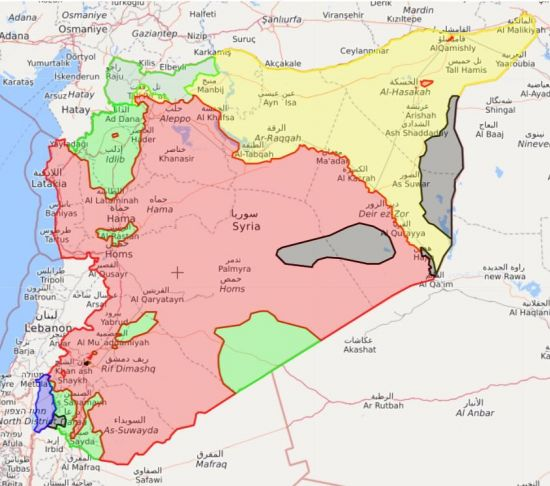 지도상에서 노란색으로 표시된 부분이 쿠르드 민병대의 점령지로, 시리아 내 주요 원전들이 배치돼있는 지역이다.(자료=아시아경제DB)
