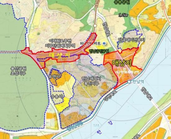 한남 오거리· 이태원관광특구 일대 용산 상업· 업무 중심지로 개발
