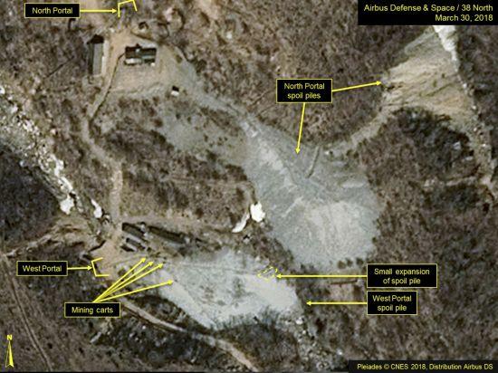 한 전문매체 38노스가 지난 3월말 에어버스 디펜스 & 스페이스 인공위성 사진을 근거로 분석해 제공한 북한 풍계리 핵실험장 모습. 북한은 12일 외무성 공보를 통해 오는 23∼25일 풍계리 핵실험장을 갱도 폭파하는 방식으로 폐쇄하는 행사를 한다고 밝혔다. [이미지출처=연합뉴스]