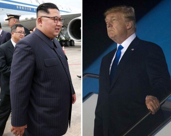 지난해 6월 10일 오후 싱가포르 창이공항에 도착한 북한 김정은 국무위원장이 에어차이나 항공기에서 내리고 있다(왼쪽 사진). 같은 날 미국 도널드 트럼프 대통령이 파야 레바르 공군기지에 도착해 전용기에서 내리고 있다.