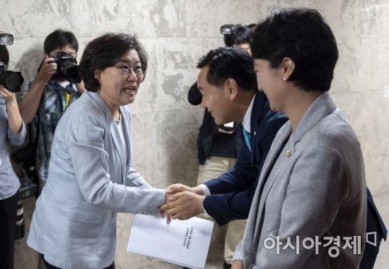 이혜훈 바른미래당 의원이 동료 의원들과 인사를 나누고 있다./윤동주 기자 doso7@